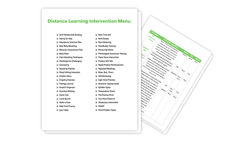 Distance Learning Intervention Menu